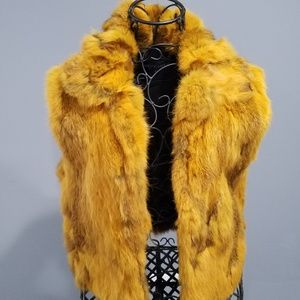 Adrienne Landau Fur Vest- Yellow L Gorgeous